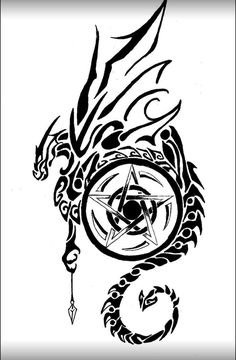 coffee mugs, I-pod/pad cases, and more with this image for sale at [link] I redid [link] because I wanted to use the image on Zazzle but I'm not entirel. Dragon and Pentagram 2 Pentacle Tattoo, Wiccan Tattoos, Celtic Tattoos, Viking Tattoos, Indian Tattoos, Celtic Wolf Tattoo, Tattoo Diy, Et Tattoo, Tattoo Und Piercing