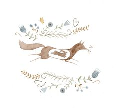 spot illustration, animal, wolf, floral, frame, cut away. Hungry Fox-rabbit by Julianna Swaney