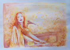 """""""Gold Dust"""" (portrait of Tori Amos) watercolour, by Bonnie Rose Bryan - wwwBRBryan.com - #tori  #toriamos"""