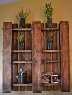 Pallet board shelf, just pull a few boards out and stain it
