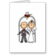 Shop Getting Married Card created by stick_figures. Wedding Cards Handmade, Greeting Cards Handmade, Homemade Wedding Cards, Art Drawings Sketches Simple, Easy Drawings, Just Married, Getting Married, Wedding Drawing, Drawing Activities