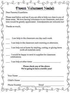 Free volunteer sign up questionnaire classroom management black and white theme parent volunteer request form perfect for open house or meet the teacher spiritdancerdesigns Choice Image