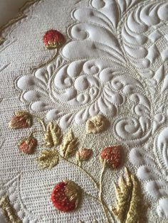 Vintage strawberry society silk embroidery, quilted. Kelly Cline Quilting. xxx
