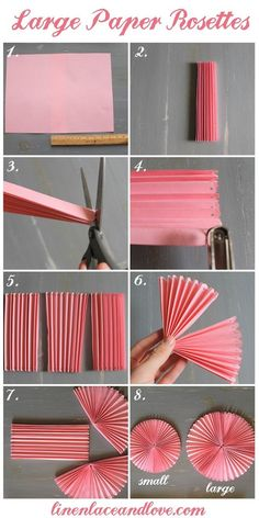 How to DIY Easy Beautiful Paper Rosettes – DIY Tutorials DIY Party decor Related DIY Basteln zum Valentinstag für Kinder - Lolly Brilliant Crafts To Make And Sell For Extra Cash. Diy Party Decorations, Paper Decorations, Birthday Decorations, Diy Party Fans, Paper Wall Decor, Papier Diy, Diy Y Manualidades, Paper Fans, How To Make Paper