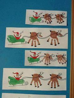 Handdruck Fußdruck Weihnachten basteln Kinder