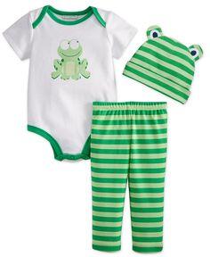 First Impressions Baby Boys' 3-Piece Frog Bodysuit, Striped Hat & Leggings Set - Kids Baby Boy (0-24 months) - Macy's