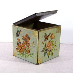 Vintage Tea Tin with Butterfly Rose and Flowers - Tin Cube Tea Box