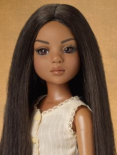 All Natural Lizette - spice skin tone - brown inset eyes - includes 2 wigs and stand $149