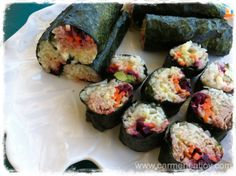 #paleo Sushi Rolls: 1/2 head cauliflower; 1 carrot; 1 cucumber; 1 medium beetroot; 150g cooked tuna; 6 tbsp white chia seeds; 6 squares nori paper (available in the Asian section of your supermarket); 1 tsp salt; 1 tsp pepper   some mayonnaise, for assembly: 2 eggs; 2 tbsp white vinegar; 1/4 tsp English mustard powder; 2 cups extra light extra virgin olive oil; 1/2 tsp salt; 1/2 tsp pepper; juice of 1/3 a lemon   1 tbsp apple cider vinegar; 3 tbsp olive oil; 1/4 cup water