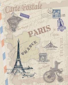 Paris  France Decoration print stylized for by truecolorprints