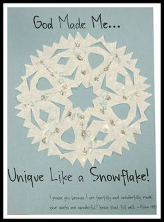 God Made Me Unique like a Snowflake! Craft with Psalm God Made Me Unique like a Snowflake! Craft with Psalm Bible School Crafts, Preschool Bible, Bible Crafts, Jesus Crafts, Children's Church Crafts, Vbs Crafts, Preschool Crafts, Toddler Church Crafts, Snow Crafts