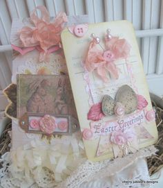 shabby chic vintage EASTER BUNNIES EASTER greetings matching embellished large tag and envelope set