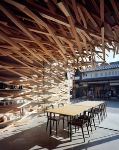 Stick-like architecture makes this Starbucks Coffee at Dazaifutenmangu Omotesando in Fukuoka, Japan truly unique.
