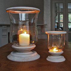 Mango Wood Hurricane Lantern - lighting