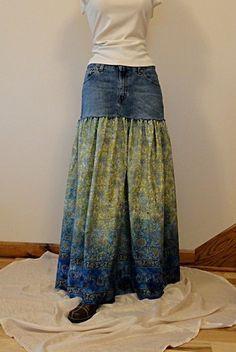 Paisley & Blue Jeans Long Skirt Long Jeans Skirt by Blue Jeans, Paisley, Denim Ideas, Denim Crafts, Recycled Denim, Skirt Outfits, Diy Clothes, Jean Skirts, Denim Skirts