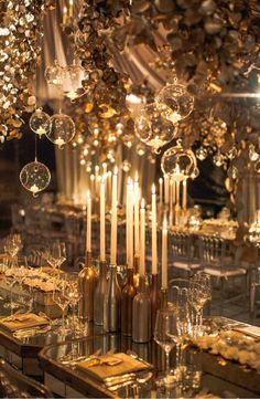 Stunning Golden Table Display! Gold Wedding | Gold Bridal Earrings | Gold Wedding Jewelry | Spring wedding | Spring inspo | Gold | Spring wedding ideas | Spring wedding inspo | Spring wedding mood board | Spring wedding flowers | Spring wedding formal | Spring wedding outdoors | Inspirational | Beautiful | Decor | Makeup |  Bride | Color Scheme | Tree | Flowers | Wedding Table | Decor | Inspiration | Great View | Picture Perfect | Cute | Candles | Table Centerpiece | Gold Themed Wedding…