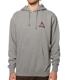 Treat yourself to the thick fleece lined construction for comfort with a white Obey script inside of a blue and red triangle chest and back graphic.