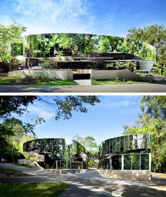 "A ""Green"" Building in All Senses︱Cairns Botanic Gardens Visitors' Centre ︱Far North Queensland, Australia︱Charles Wright Architects Charles Wright, Vertical Green Wall, Road Trip, Mirror House, Garden Centre, Queensland Australia, Urban Farming, Modern Exterior, Bunker"