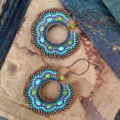 Golden Peacock Hoop Earrings, Open Hoop Earring, Brass Dangle Earrings, Beaded…