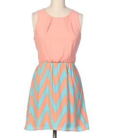 Look at this Hello Miss Peach & Mint Zigzag Sleeveless Dress on #zulily today!
