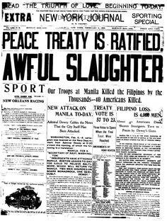 Headline From the Spanish American War Period yellow journalism