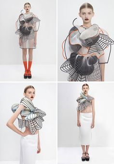 Gorgeous 3-D printed garments... Awesome concept for future runways.. Just worried about how you would clean them and last over time - Sana
