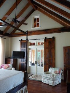 Timber frame elements, barn doors, french doors for bedroom