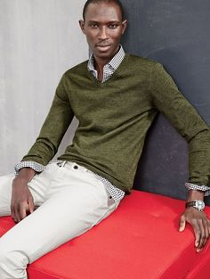 J.Crew men's merino V-neck sweater, Thomas Mason® Ludlow shirt in black gingham and 770 Japanese selvedge jean in white. To pre-order, call 800 261 7422 or email verypersonalstylist@jcrew.com.