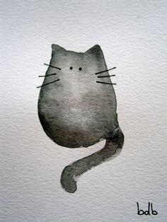 Watercats No101  Original Miniature Watercolor by bdbworld on Etsy, $8.00