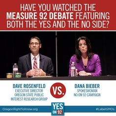 Yes on 92 vs. a chemical company lobbyist! Want to see who wins this debate? Watch: http://vimeo.com/109854804 #Oregon #righttoknow #food #farming #GMOs #LabelGMOs