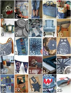 25 recycling projects for old jeans projects crafts diy do it yourself interior design home decor fun creative uses use ideas inspiration s reduce reuse recycle used upcycle repurpose handmade homemade materials denim by natasaj Jean Crafts, Denim Crafts, Diy Jeans, Craft Projects, Sewing Projects, Recycling Projects, Craft Ideas, Fun Ideas, Sewing Ideas