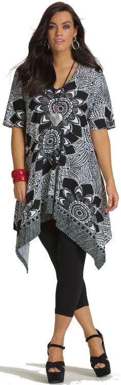 FLOWER BORDER TUNIC - Tops - My Size, Plus Sized Womens Fashion  Clothing Clothing, Shoes & Jewelry - Women - Plus-Size - Wantdo - women big size clothes - http://amzn.to/2lfaYAF