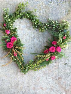 Floral heart Wreath wedding Valentine's Day Foliage greenery  Www.sophisticatedfloral.com