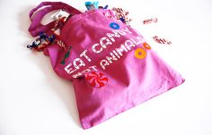 "Fair Trade Tote Bag: ""Eat Candy Not Animals"" Vegan 100% Cotton Animal Rights Message!"