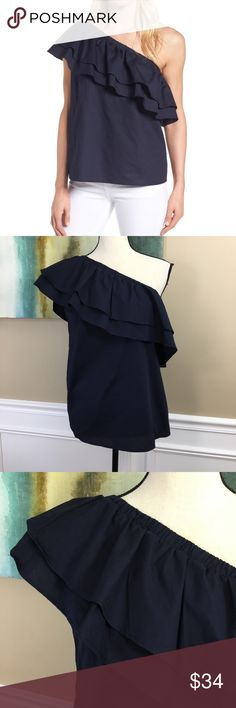 "HALOGEN One Shoulder Cotton Poplin Top XL NEW HALOGEN One Shoulder Cotton Poplin Top (N8) Navy  New With Tags! A pair of lush ruffles flutter opposite a single bared shoulder, making this crisp cotton poplin top a statement-making choice for your next garden party. - One-shoulder neckline - 100% cotton  Women's SZ XLarge Measurements Laying Flat Under Arm to Under Arm 21"" Length 25"" Halogen Tops"