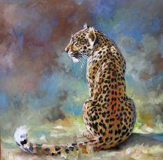 Spots in the Sun, Leopard,  African Wildlife oil paintings by Okanagan artist, Kindrie Grove.