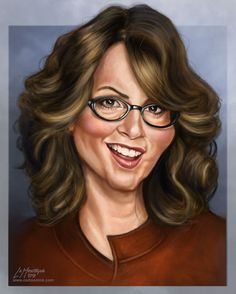Tina Fey Funny Caricatures, Celebrity Caricatures, Celebrity Drawings, Crazy Funny Pictures, Funny Pictures Of Women, We Run The World, Rockabilly Art, Caricature Artist, Wtf Face