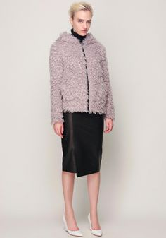 Fake Fur Jacket and Leather Tight Skirt