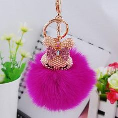 Cute Rabbit Soft Fluffy Ball Keychain. Click Picture to Purchase. https://liftingtheworld.com/collections/fluffy-balls-keychains
