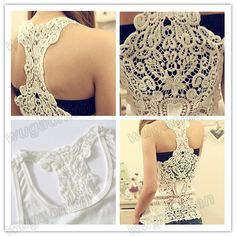Hot Women Crochet Lace Back Tank Top Sleeveless T shirt Vest Cami Hollow out Pierced Free Shipping