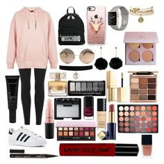 """Sin título #576"" by frichu on Polyvore featuring moda, adidas Originals, New Look, adidas, Moschino, Casetify, MAC Cosmetics, Givenchy, Stila y NARS Cosmetics"