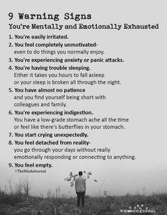 9 Warning Signs You& Mentally and Emotionally Exhausted You& easi. - 9 Warning Signs You& Mentally and Emotionally Exhausted You& easi. 9 Warning Signs You& Mentally and Emotionally Exhausted Y. Mental And Emotional Health, Mental Health Matters, Mental Health Awareness, Emotional Abuse Quotes, Mental Health Quotes, Emotional Healing, Emotional Well Being, Mental Well Being, Verbal Abuse Quotes
