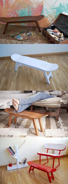 Decoración tablas skate taburetes