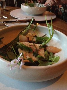 Turbot and herbs from the parks in Copenhagen