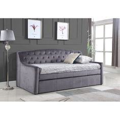 Clemence Upholstered Daybed with Trundle Contemporary Style Beds, Furniture, Daybed, Trundle Bed, Interior Design Living Room, Daybed With Trundle, Ottoman Storage Bed, Home Decor, Uk Mattress