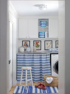 Cottage utility room but scheme could work as well for a small kitchen. A hint of the sea with the blue and white stripes, so would suit coastal interiors too. Laundry Room Remodel, Laundry Room Storage, Laundry Room Design, Storage Area, White Laundry Rooms, Laundry In Bathroom, Bauhaus, Cabins And Cottages, Room Essentials