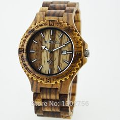 Free Post - Free Shipping Mens Wooden Watches Top Brand Luxury Watch 2014 Newest Japan Movement Zebra Wood Men Big Wristwatches With Giftbox