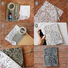 Lace notebook cover love it!DIY lace notebook diy diy crafts do it yourself diy art diy tips diy ideas diy lace notebook easy diyHow To Make a Lace Patterned Notebook. This technique works best on canvas or fabric covered notebooks. Fun Crafts, Diy And Crafts, Arts And Crafts, Paper Crafts, Book Crafts, Diy Projects To Try, Craft Projects, Design Projects, Decoration Shabby