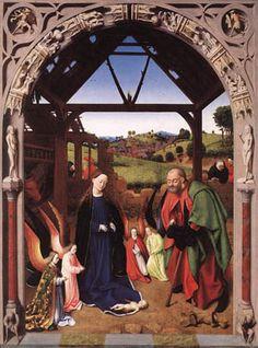 PETRUS CHRISTUS, pittore. La Nascita di Gesù, 1,30m x 97 cm, colore ad olio su tavola. Oggi al National Gallery of Art, Washington. Nonostante questa opera sia del 1465, a parer mio, non ha le piene caratteristiche del rinascimento e del mondo fiammingo, ma è ugualmente bello.