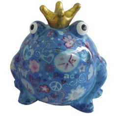 Pomme Pidou Love and Peace Frog Animal Money Bank - Blue